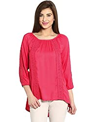 Ladybug Womens Loose Fitting Lace Insert Top- Pink