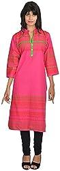 Goodyygoods Women's Cotton Regular Fit Kurti (GG 21, Pink, X-Large)