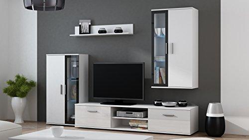 BMF-Dora-Wohnwand-mit-LED-Regalen-stehend-zum-Aufhngen-cabintes-TV-Stnder-wei-schwarz