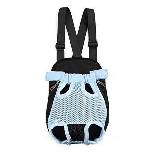 Fosinz Outdoor Adjustable Pet Carrier Breathable Comfortable Backpack Lightweight Bag Free Your Hands (XL, Blue)