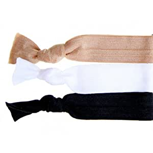 Twistband Solid Angela Hair Tie Set, Tan/ White/ Black - Pack of 3