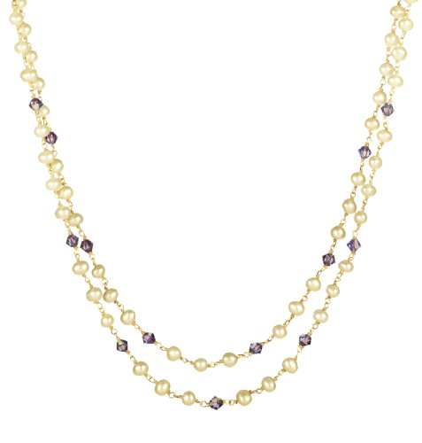 Gold Plated Sterling Silver White Freshwater Cultured Pearl with Sapphire Crystallized Swarovski Elements Bicone Bead 2-Row Necklace