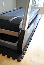 "84"" X 36"" X ~9/16"" Thick Interlocking Waterproof Black Foam Tiles for Treadmill & Equipment"