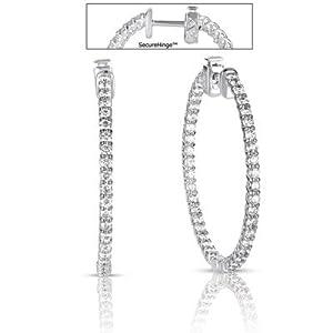 14k White Gold 2.61 Dwt Diamond 1.5 Securehinge Hoop Earrings - JewelryWeb