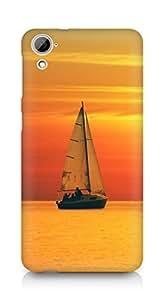 Amez designer printed 3d premium high quality back case cover for HTC Desrie 826 (Golden Sunset Ocean Sail)