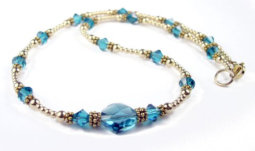Blue Zircon Birthstone 14K Gold Filled Swarovski Crystal Handmade Beaded Necklaces w/ Adjustable 2 Inch Extension