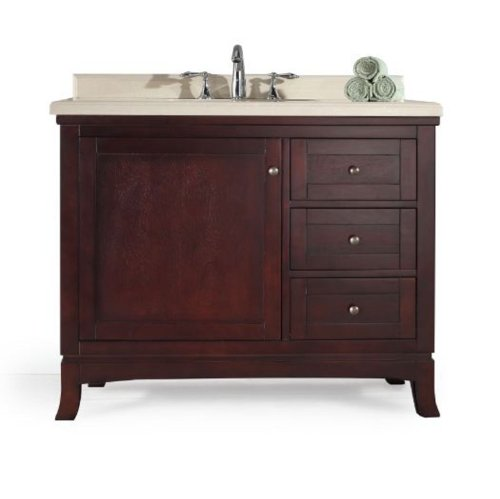 OVE Velega-42 Bathroom 42-Inch Vanity Ensemble with Marble Countertop and Ceramic Basin, Tobacco