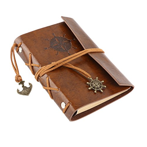 LEORX Vintage Pirate Anchor PU Cover Loose-leaf String Bound Blank Notebook Travel Journal Diary