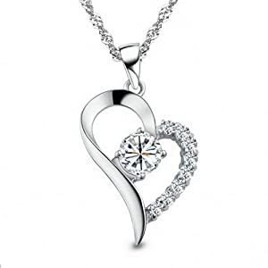 Rarelove 925 Sterling Silver Diamonds Open Floating Heart Pendant Necklace by Rarelove