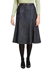 Classic Pure Cotton Panelled Denim Long Skirt with Belt