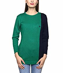 Leebonee Women's Acrylic Full Sleeve Bottle Green Sweater