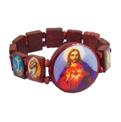 Jesus Saint Red Wooden Rosary Stretch Bracelet