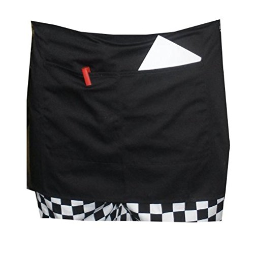 Museya® Durable Unisex Short Waist Apron with Pocket for Chef Waiter Waitress (Black)