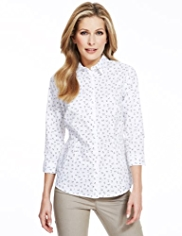 M&S Collection No Peep™ Leaf Print Shirt