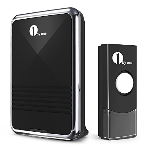 1byone Easy Chime Wireless Doorbell Kit, 1 Receiver & 1 Push Button with Sound and LED Flash, 36 Melodies to Choose, Battery Operated (Battery Operated Doorbell compare prices)
