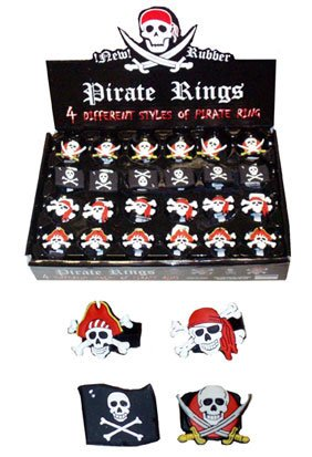 Pirate rings pack of 6 (ideal for party bags) made from black soft rubber with various pirate or skull and crossbone designs