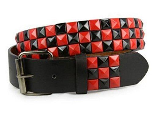 Snap On Punk Rock Black & Red Star Studded Checker Board Pattern Leather Belt