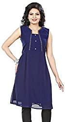Twinkal Women's Round Neck Top / Tunic (TWTP0016-19_L, Blue, L)