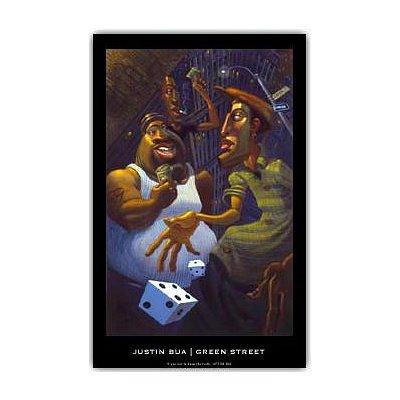 Green Street Justin BUA art print POSTER urban NYC RARE - 24x29