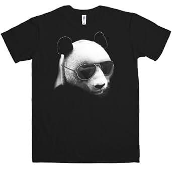 Refugeek Tees - Hommes Aviator Panda T Shirt - Small - Black