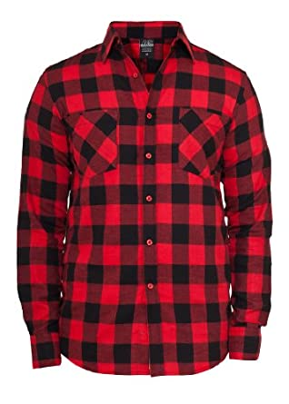urban classics hemd checked flanell shirt schwarz rot xl. Black Bedroom Furniture Sets. Home Design Ideas