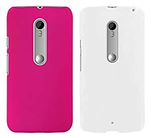 Chevron Back Cover Combo Of 2 for Moto G 3rd Generation (Deep Pink, White)