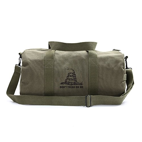 Don't Tread On Me Rattlesnake Sport Heavyweight Canvas Duffel Bag in Olive & Black, Medium