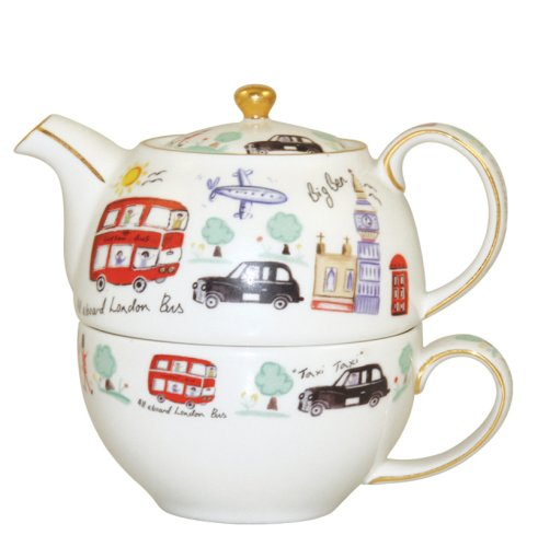 "Churchill China James Sadler Théière et tasse ""Londres"" Coffret cadeau"