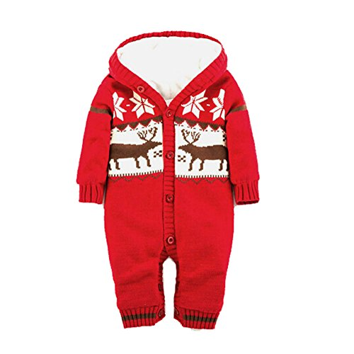C&h Baby Rompers-Baby Clothes Long Sleeve Footie(12-24months, Red)