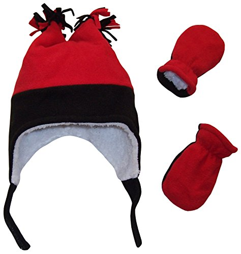 N'Ice Caps Boys Sherpa Lined Micro Fleece Four Corner Ski Hat and Mitten Set (6-18mo, Infant - Black/Red)