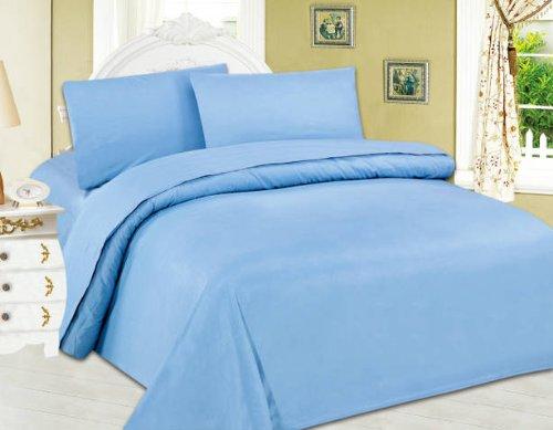 Queen Light Blue 4 Pieces Micro-fiber Bed Sheet Set