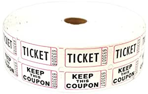 PM Company Deposit One and Keep One Ticket Roll, White, 2000 per Roll (59005)