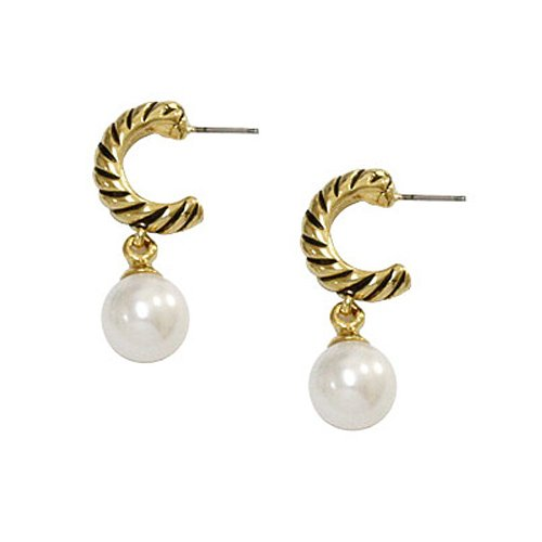 Goldtone Faux Pearl Cuff Post Earrings Fashion Jewelry