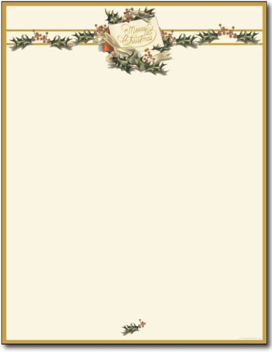 Vintage Christmas Holly Letterhead
