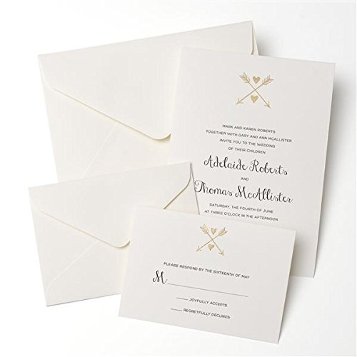 Gold Foil Heart & Arrow Invitation 50ct