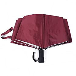 LED light Torch Automatic Sun Rain Anti-UV Outdoor Umbrellas(Burgundy)