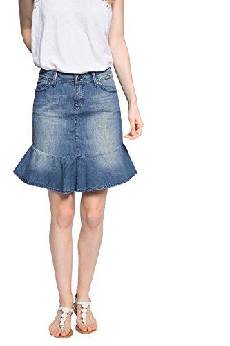 edc by ESPRIT Damen Rock midi skirt, Gr. 34, Blau (BLUE MEDIUM WASH 902)