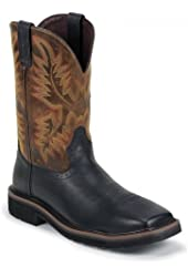 Justin Men's Oiled Leather Stampede Pull-On Work Boot Square Toe