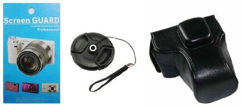 千客屋OLYMPUS PEN E-PL5 ,E-PL6, E-PM2 ミラーレス一眼デジタルカメラ用 合成革ケース フラッシュ格納可能 NEW 2色「510-0052」 (ブラック(ケース、液晶シール、レンズホルダー 3点セット))
