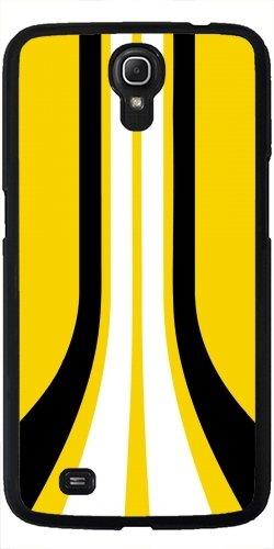 Hülle für Samsung Galaxy Mega 6.3 GT-I9205 - Sport Weiß Schwarz Gelbe Linie