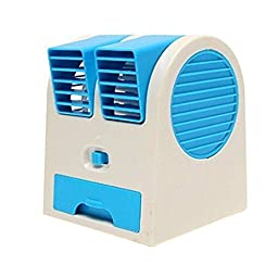 KOBWA Mini USB Fan Portable Desk Table Fan for Office Home USB Electric Air Conditioning Fan with Adjustable Dual Air Outlets