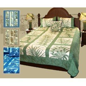 Amazon.com - Queen Size Hawaiian Patchwork Quilt Comforter Set with 2