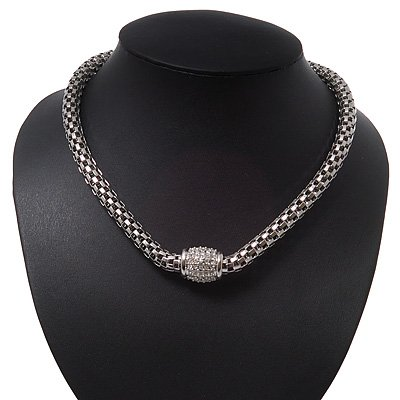 Stylish Mesh Diamante Magnetic Choker Necklace In Rhodium Plated Metal - 38cm Length