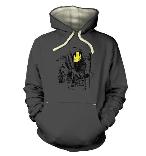 "Banksy Banksy Grim Reaper Smiley Face Premium Hoodie - Graphite X Large (49"" Chest)"
