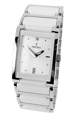 Festina Ceramic Collection Reloj de pulsera para mujer cuarzo reloj analógico de acero inoxidable/cerámica todos los modelos F16536, variante: 01