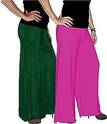 Xarans Sharara Stylish Looking Dark Green & Baby Pink Palazzo