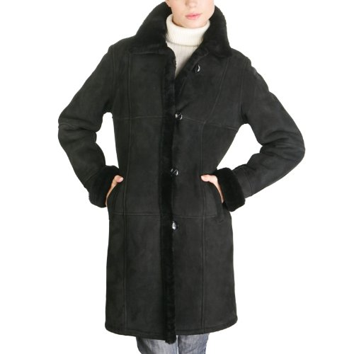 BGSD Women's Spanish Merino Sheepskin Shearling Walking Coat