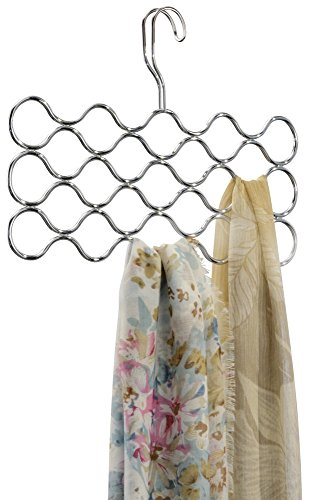 mDesign Wave Scarf Hanger, No Snag Storage for Scarves, Ties, Belts, Shawls, Pashminas, Accessories - 23 Loops, Chrome (Scarf Organizer Over The Door compare prices)
