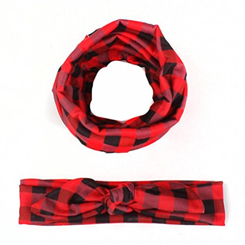 Hunputa 1Set Toddler Kids Girls Plaid Scarf + Bowknot Cute Elastic Cloth Headband Accessories (Red) (Head Scarf For Girls compare prices)