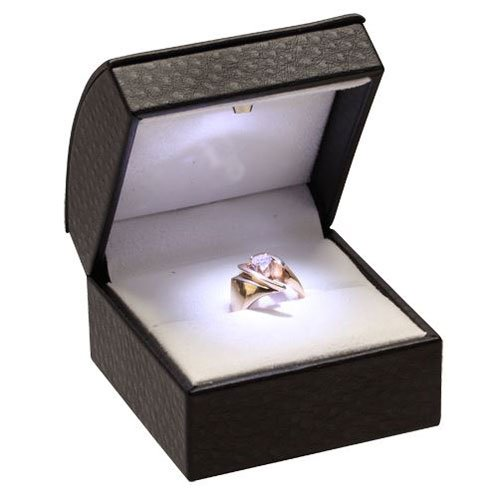 High Quality Black Leather Jewelry Ring Slot Ring Box With Led Lighted Soft White Velvet Interior Fits Single Wedding Band Or Engagement Ring (Battery Included)
